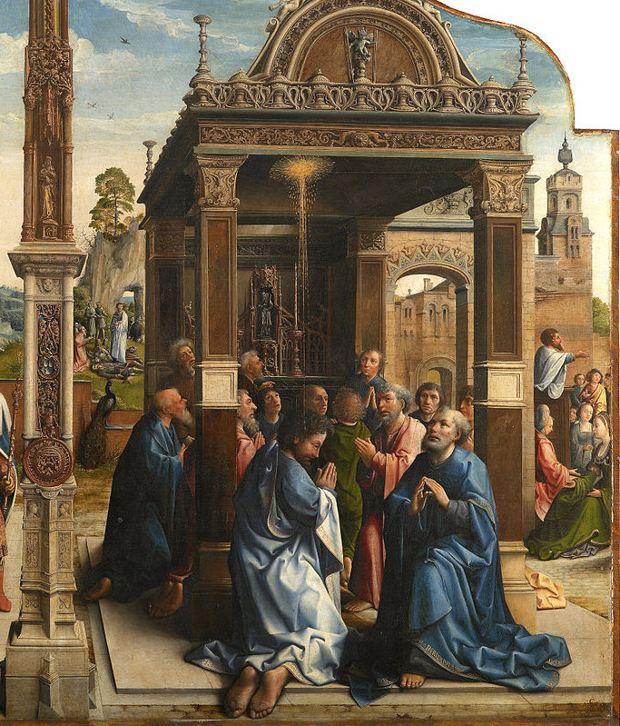 Orley, Bernard van, -1542. Altarpiece of Saints Thomas and Matthias, This is a cropped portion shows the right side of the painting which is dedicated to saint Mathias. After the Ascension of Christ, the Apostles cast lots to choose a successor to Judas Iscariot.