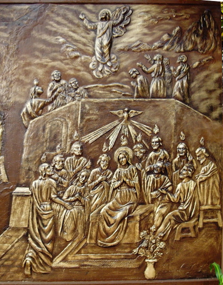 Ascension and Pentecost: Sculpture on copper. Located at St. Joseph Cathedral Hanoi, Vietnam: from Art in the Christian Tradition, a project of the Vanderbilt Divinity Library, Nashville, TN. http://diglib.library.vanderbilt.edu/act-imagelink.pl?RC=54260 [retrieved May 25, 2017]. Original source: trippinlarry, Flickr Creative Commons.