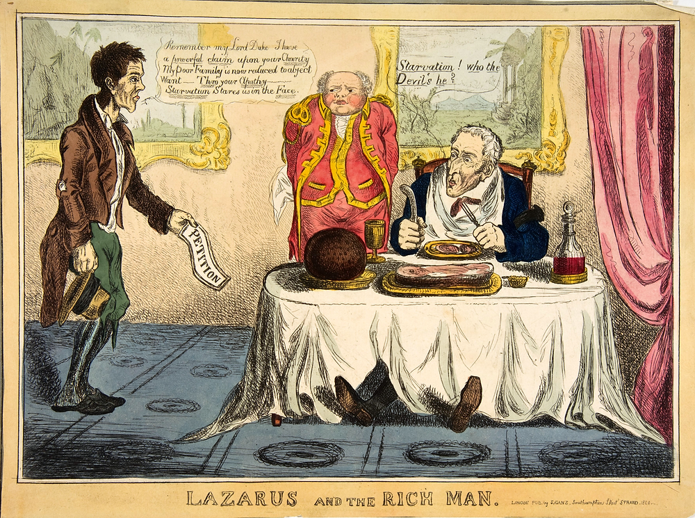 Lazarus and the Rich Man, Creator: Anonymous, British, 1830 Hand-colored etching. Metropolitan Museum of Art [CC0]
