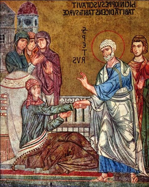 Peter Raises Tabitha (Dorcas) from the Dead, mid 12th century mosaic, Palermo Italy. From Art in the Christian Tradition, a project of the Vanderbilt Divinity Library, Nashville, TN.