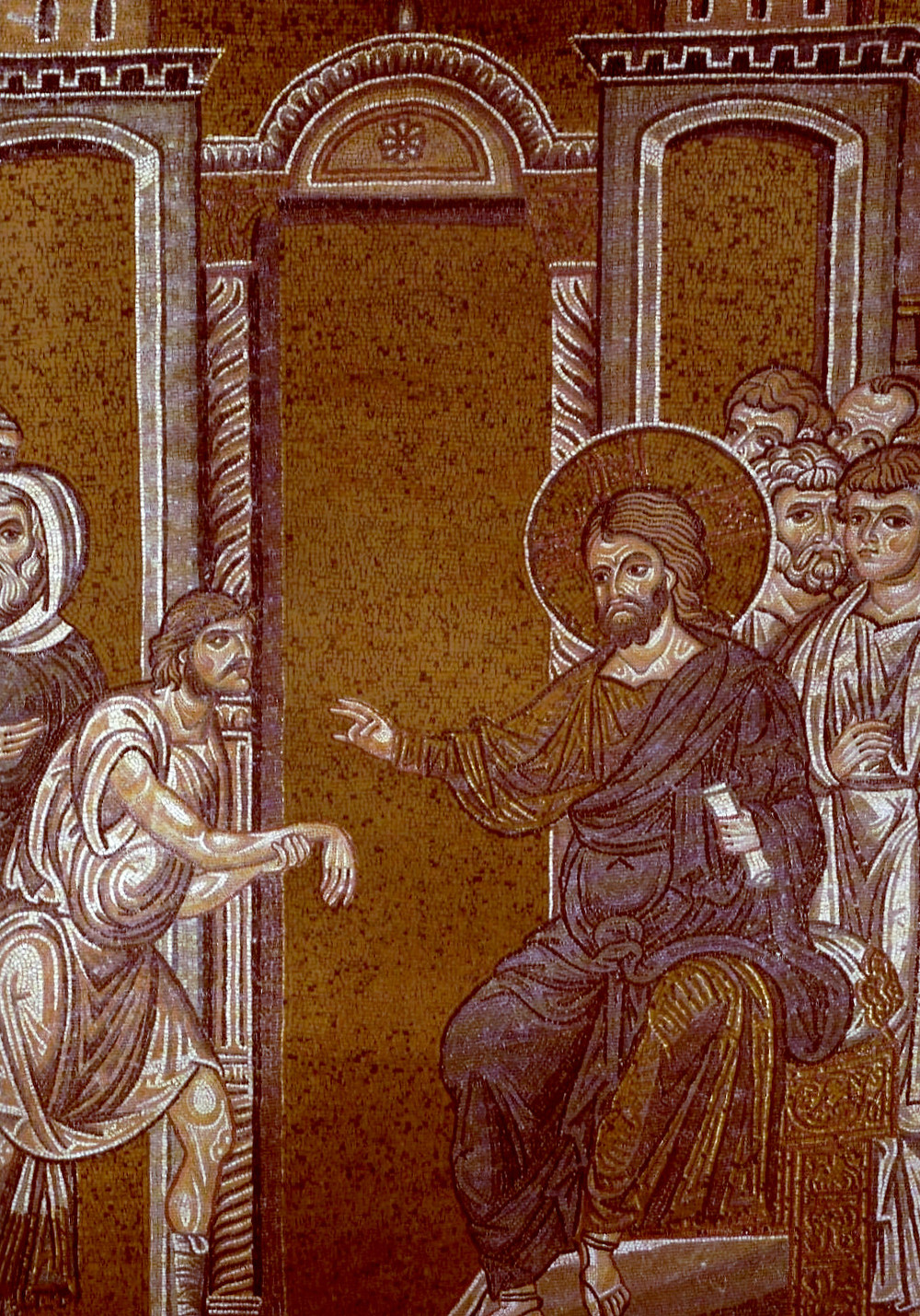 Christ heals the man with paralyzed hand. Byzantine mosaic in the Cathedral of Monreale. Photo by Sibeaster, 2008 [Public domain], from Wikimedia Commons.