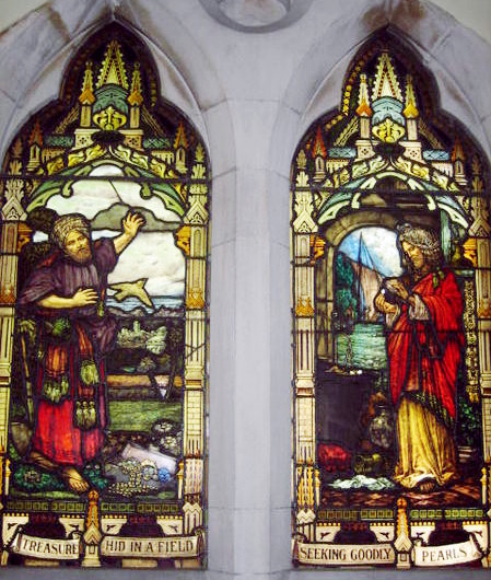 Photograph of stained glass window depicting of the Treasure in the field and the Pearl of great price at Scots' Church, Melbourne. By StAnselm [Public domain], via Wikimedia Commons