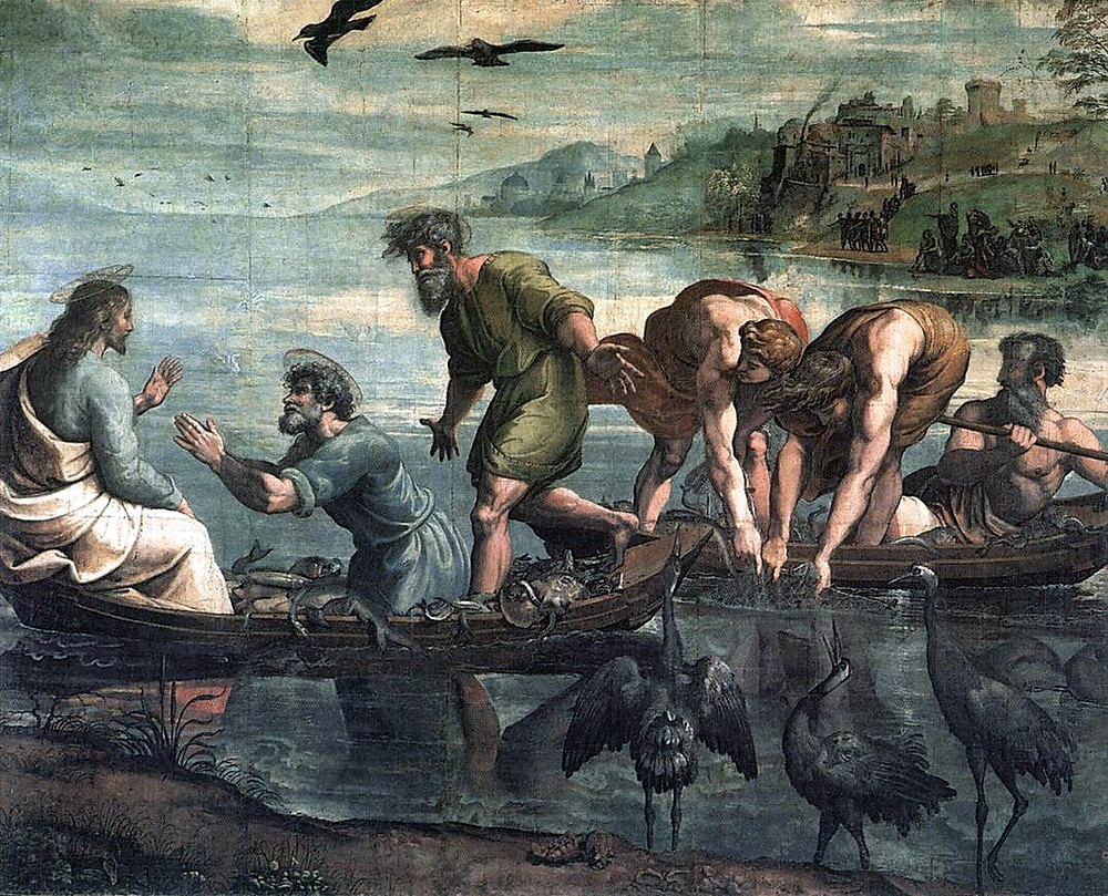 The Miraculous Draught of Fish by Raphael 1515, body color on paper laid onto canvas. The Raphael cartoons are designs for tapestries and were commissioned from Raphael by Pope Leo X (1513-21) in 1515. The tapestries were intended to hang in the Sistine Chapel in Rome, built by one of Leo's predecessors Pope Sixtus IV (1471-84). The Chapel was primarily intended for the use of the Pope and the Papal chapel, the body of clergy and Laity immediately surrounding him. The decoration of the chapel under Sixtus dealt largely with the theme of the Pope's authority. The tapestries continued this theme, illustrating scenes from the lives of St. Peter and St. Paul who were seen as the founders of the Christian Church, and the sources of the Pope's authority and power. They had in addition woven borders showing scenes from Leo's life, also designed by Raphael: the cartoons for these have not survived. [Public domain]
