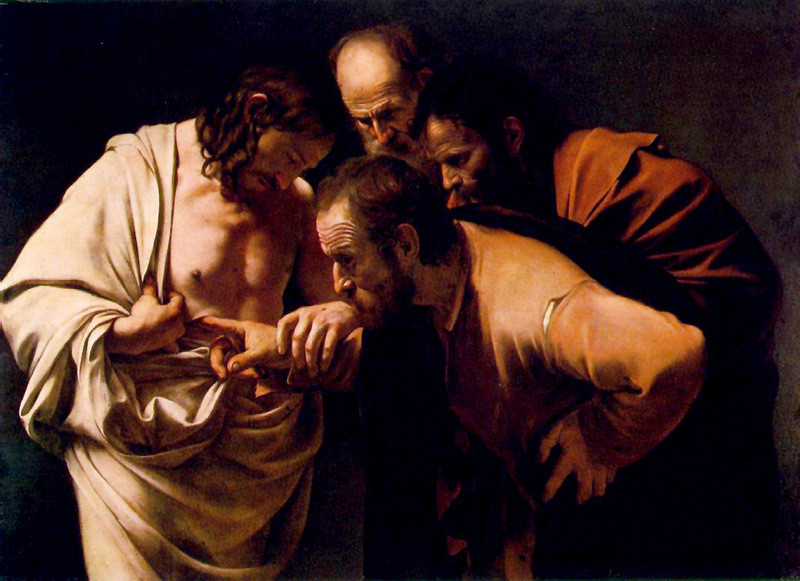 Caravaggio, Michelangelo Merisi da, 1573-1610. The Incredulity of Saint Thomas, 1601-1602 from Art in the Christian Tradition, a project of the Vanderbilt Divinity Library, Nashville, TN. http://diglib.library.vanderbilt.edu/act-imagelink.pl?RC=54170 [retrieved April 5, 2018]. Original source: http://commons.wikimedia.org/wiki/File:The_Incredulity_of_Saint_Thomas_by_Caravaggio.jpg.