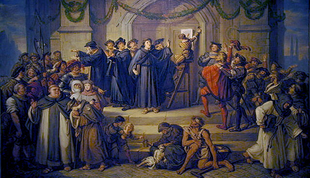 Nineteenth-century painting by Julius Hübner (1806-1882) [Public domain] This painting sensationalizes Luther's posting of the 95 Theses before a crowd. In reality, posting theses for a disputation would have been routine. Wikimedia Commons