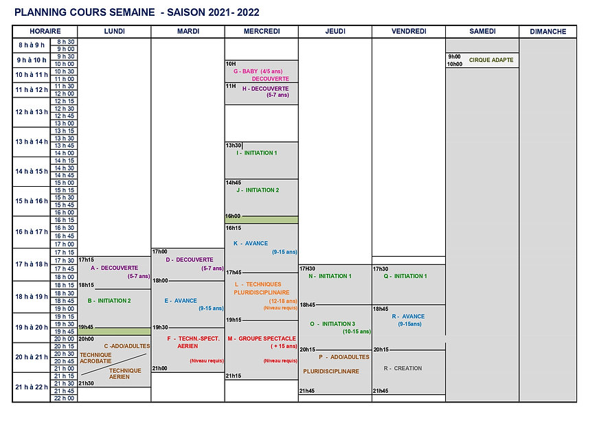 PLANNING COURS SAISON 2021 -2022 ADHEREN
