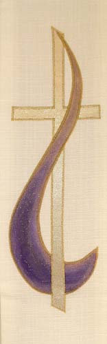 gold cross with purple detail