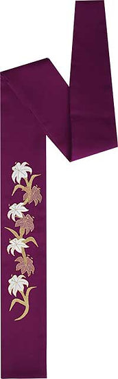 Purple Preaching Scarf Lily design