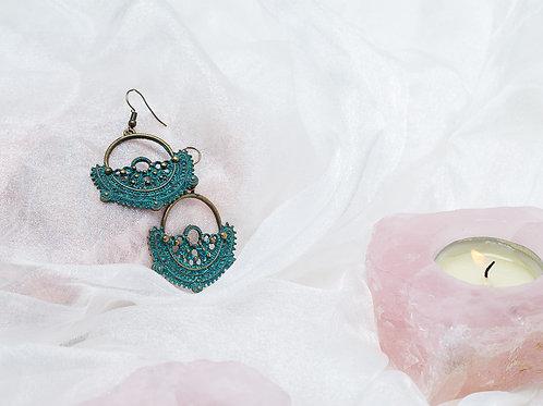 Vintage Green & Copper Earrings