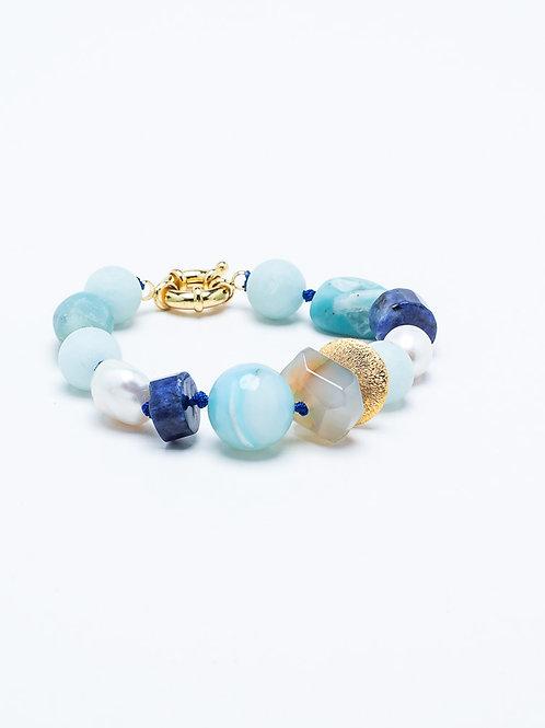 Aquamarine, Lapis, Agate, Fresh Water Pearl Bracelet
