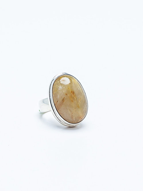 Stirling Silver Ritulated Quartz Ring