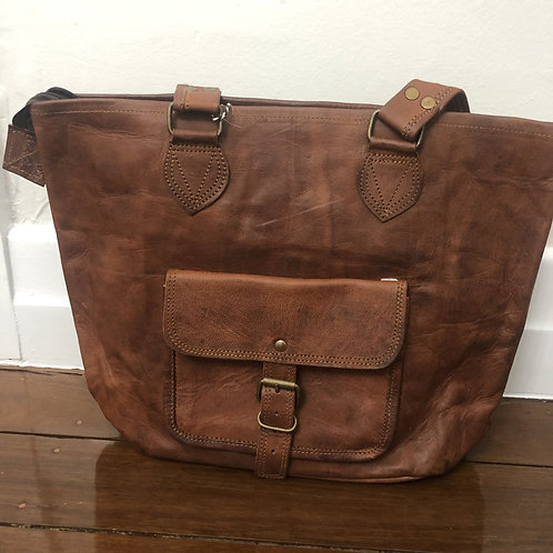 Leather Tote Bag with pocket