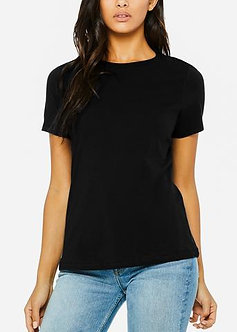 Black Relaxed Jersey Crew Neck Tee
