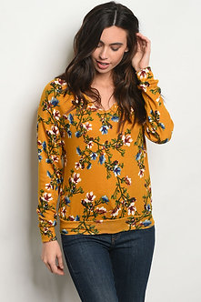Long Sleeve Mustard Floral Shirt
