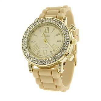 Rhinestone Studded Silicone Strap Watch