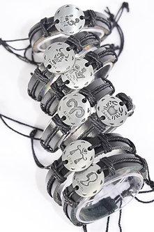 Silver and Black Zodiac Sign Leather Bracelet