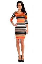 Orange Stripped Bodycon Dress