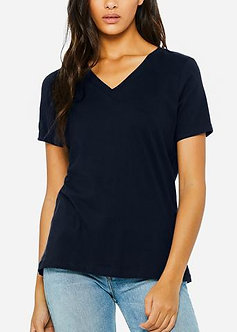 Navy Basic  Relaxed Jersey V-Neck Tee