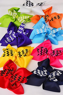 Chevron Double Layered Alligator Clip Hair Bow