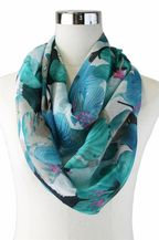 Turquoise Floral Print Scarf