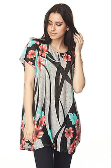 Black/Grey Floral Tunic
