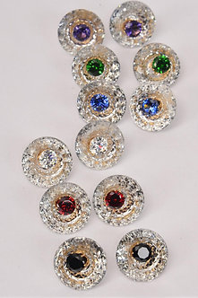CLEAR ROUND CENTER COLORED RHINESTONED EARRINGS