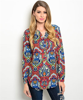 Wine/Royal Blue Medallion Blouse