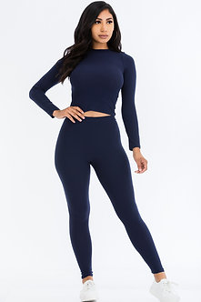 Navy 2 Piece Long Sleeve Fitted Set