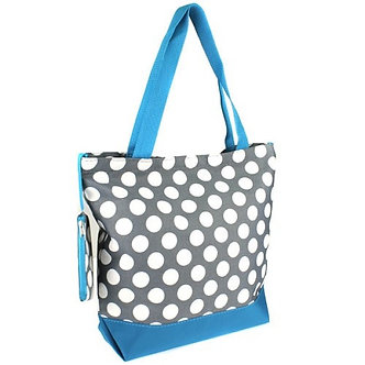 Luggage Tote LG Dots Gray White Turquoise