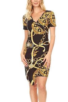 Black Gold Chain Print V Neck Faux Wrap Bodycon Fit Dress