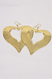 GOLD HEART SHAPED FISH HOOKED EARRINGS