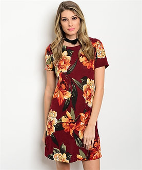 Burgundy/Rust Floral Dress