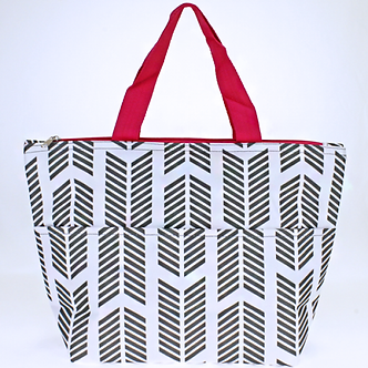 Luggage/Lunch Tote Arrow Gray White Fuchsia