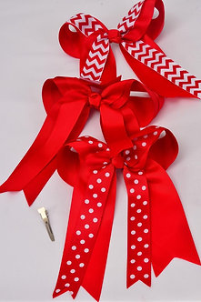 Red Multi Print Double Layered Bow