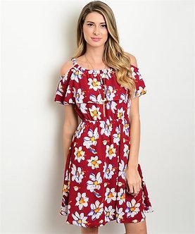 Burgundy Floral Cold Shoulder Dress