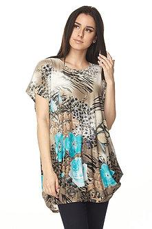 Turquoise Brown Cheetah Print Tunic