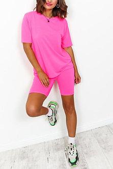 Pink 2 Piece Biker Short Set