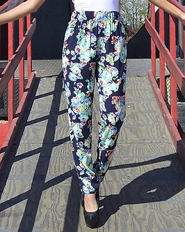 Navy Floral Pants