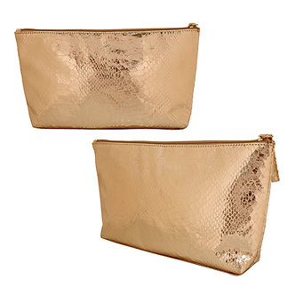 Gold Alligator Printed Makeup Bag