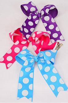 Polka Dot Longtail Hair Bow