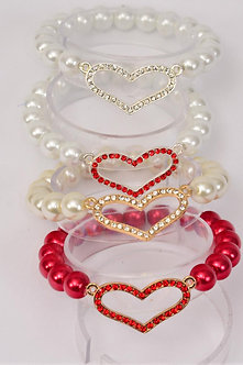GLASS PEARL WITH RHINESTONE HEART BRACELET