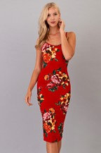 Sexy Red Floral Midi Dress