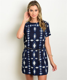 Navy Tribal Print Dress