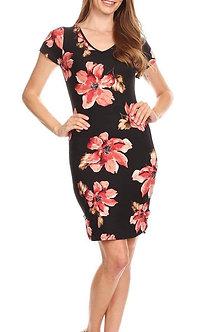 Floral Black Coral V Neck Curve Hem Midi Bodycon Fit Dress