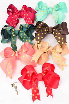 Double Layered Cute Polka Dotted Bow