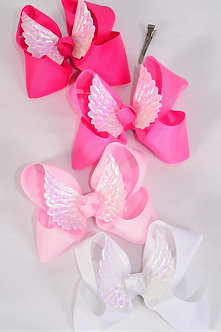 Pink Angel Wing Centered Bow