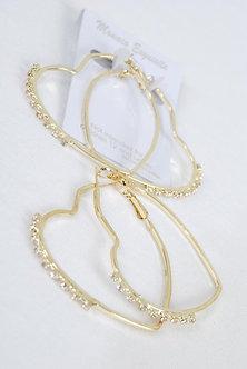 Gold Heart Shaped Rhinestone Earrings