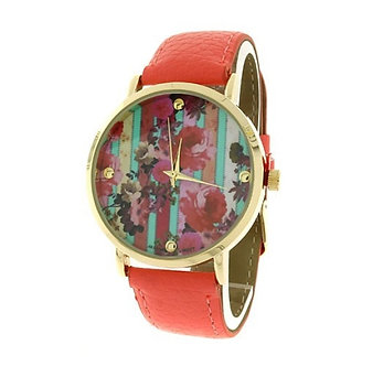 Coral Floral Print Round Face Watch