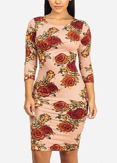 Mauve Red Floral Print Midi Dress