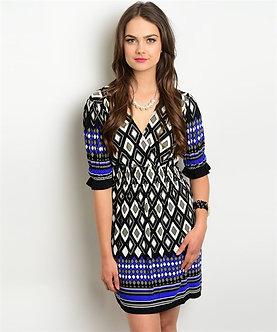 Royal Blue/Blk Print Dress